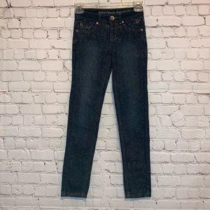 Justice Skinny Glitter Stretchy Denim Jeans
